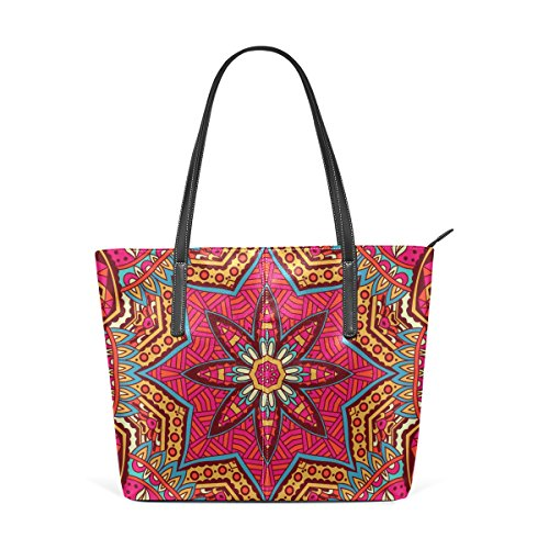 COOSUN Abstract Tribal Ethnic Pattern Ornament PU Leather Shoulder Bag Purse and Handbags Tote Bag for Women
