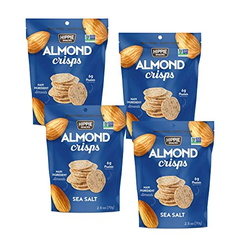 HIPPIE SNACKS SEA SALT ALMOND CRISPS Plant-based, High Protein, Gluten Free Snack or Crackers for Charcuterie Boards - 70 grams (Pack of 4)