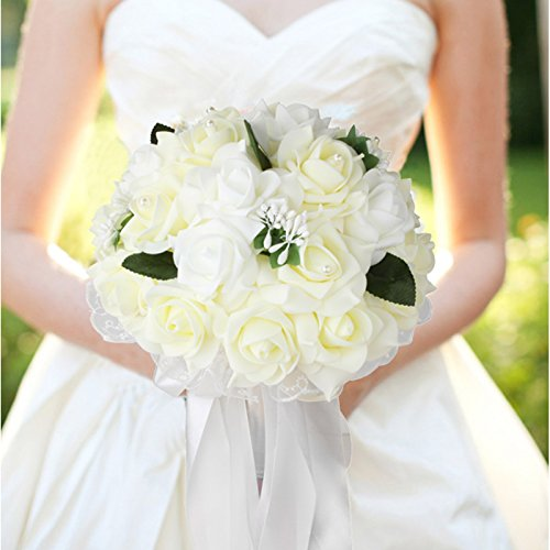 Vlovelife Wedding Bouquet, Bridal Bouquet, Ivory Artificial Foam Rose Flower, Handmade Bridesmaid Bouquet Flower for Wedding Favors
