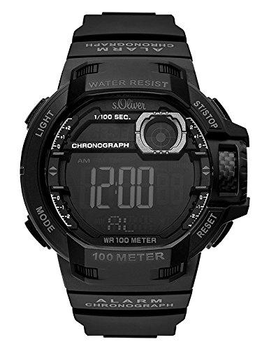 s.Oliver Herren Digital Quarz Uhr mit PU Armband SO-3495-PD