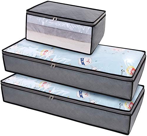 DIMJ 3 Pack Underbed Storage Bags, Large Clothes Storage Organizer With Clear Window and Reinforced...