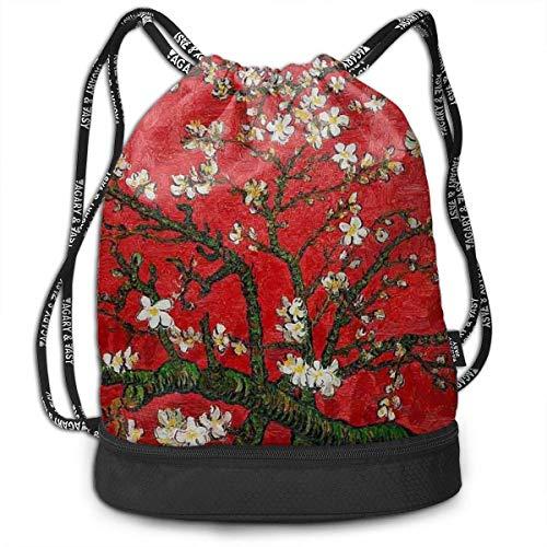 Waterproof with Flower Print Drawstring Bag Backpack Sport Travel Gym School Hiking Yoga Beach Cinch Bags Bundle Backpack for Women/Men