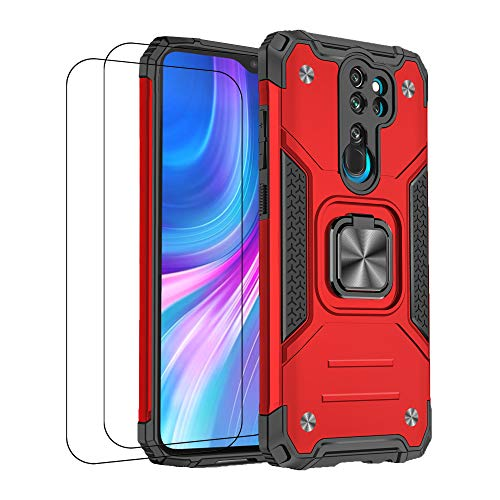 通用 Funda para Xiaomi Redmi Note 8 Pro Funda,Carcasa Xiaomi Redmi Note 8 Pro Fundas con 2 Cristal Templado Soporte Antigolpes Armor con Posterior 360 Grados Iman Magnético Case(Note 8 Pro, Rojo