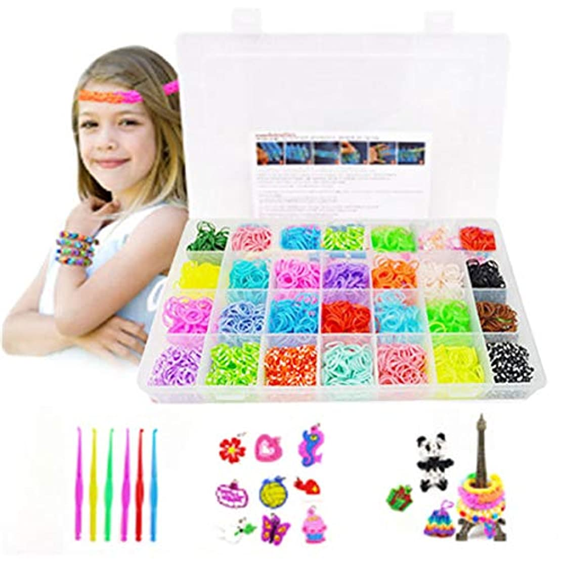 Koogel Colorful Rubber Bands Loom Set 4400 Premium Loom Bands 22 Colors,10 Pendants,6 Small Crochets,48 S Buckles,Organizer for DIY Jewelry Dolls Hats Skirts