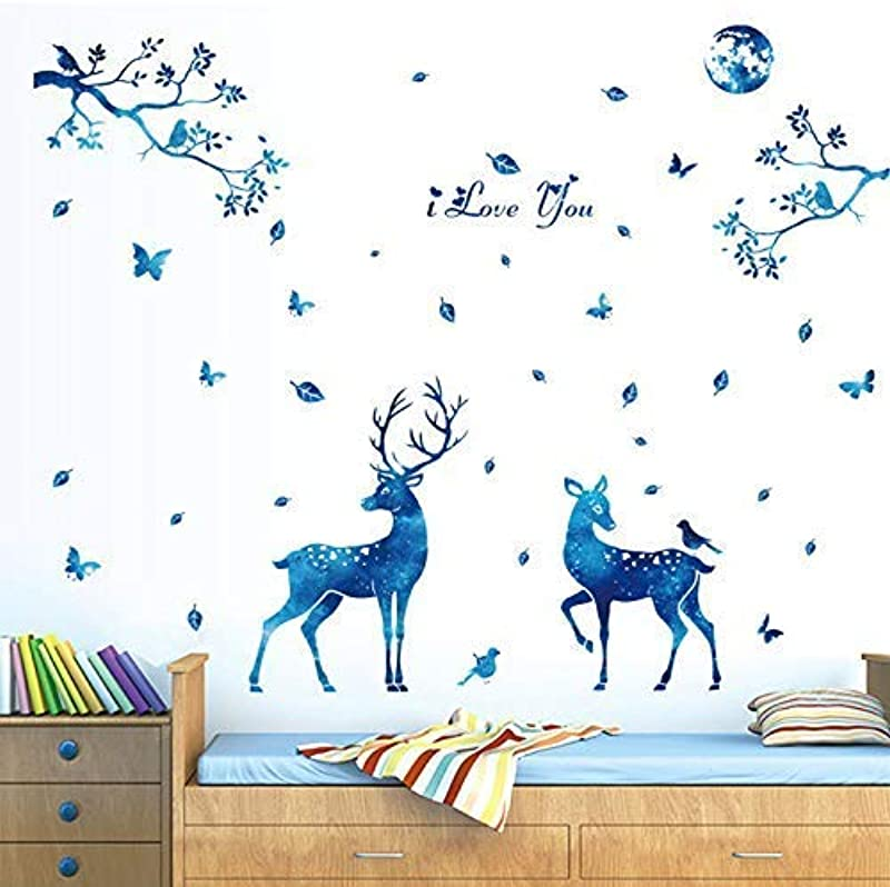 Letitia Matthew DIY Blue Giraffe Tree Wall Stickers Butterfly Deer Wall Decal Removable For Kids Christmas Decor Nursery Bedroom 56 61 Inch PVC