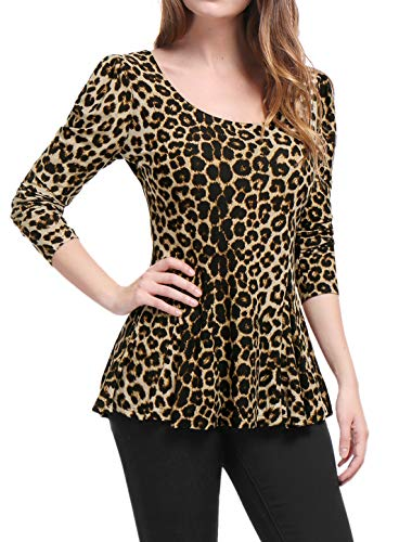 Allegra K Women's Long Sleeves Scoop Neck Leopard Prints Peplum Shirt Small Brown