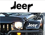 32 & Willys Jeep Logo w/Guns { WHITE } PREMIUM Decal 5 inches | Sig | Glock | Wrangler | Rubicon | Cherokee | Sahara | 4x4 | Offroad | Girl Jeep | car truck van laptop macbook bumper sticker