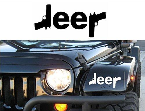 32 & Willys Aufkleber Jeep Logo mit Pistolen, 12,7 cm (5 Zoll), Schwung - Glock - Wrangler - Rubicon - Cherokee - Sahara - 4x4 - Offroad - Mädchen Jeep - Auto LKW/Laptop/MacBook