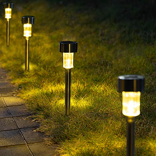 GIGALUMI Solar Pathway Lights 12 Pack, Stainless Steel IP44 Waterproof Auto On/Off Outdoor LED Solar Landscape Lights for Garden, Yard, Patio, Path and Walkway. (Warm White)……