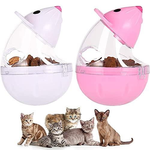 Alimentador de Juguetes para Gatos, Juguete Inteligente para Gatos, Juguete de la Golosina del Gato, Vpara el Vaso Interactivo con Forma de Ratón de Entrenamiento IQ Treat (Rosa + Blanco)