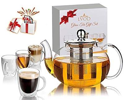LVOD Glass Tea Set for Adults, 35oz Tea Pot Set with Infuser & 8.5oz 4 Tea Cups like Coffee Mugs, Stove Top Safe Tea Kettle, Blooming and Loose Leaf Tea Maker & Tea Recipe Pdf Book as Gift