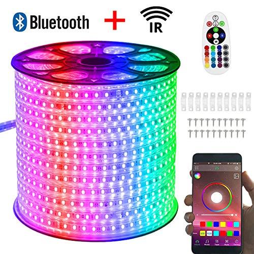 VAWAR 40m RGB LED Streifen, Bluetooth kontrolliert Strip, 230V dimmbar Lichterkette, 5050 SMD 60 LEDs/m Farbwechsel Led Band, wasserdicht Lichtschlauch mit Trafo & 24-Tasten IR Fernbedienung (40m)