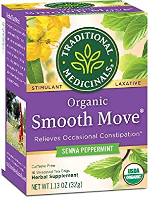 Traditional Medicinals Organic Smooth Move Peppermint Laxative Tea, 16 Tea Bags (Pack of 6) by Traditional Medicinals