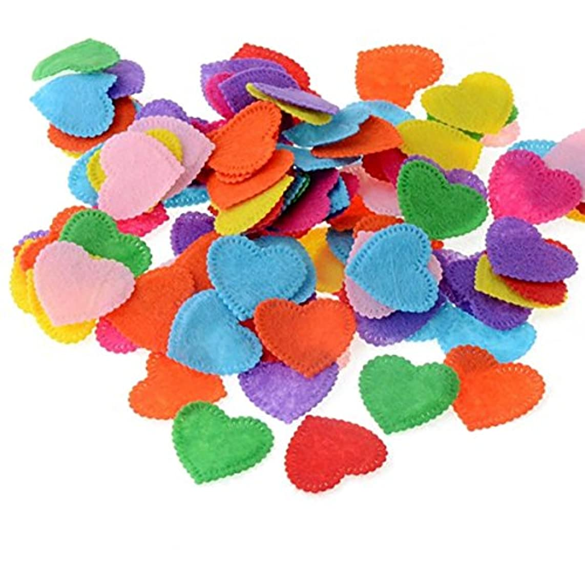 200PCS Assorted Shape Multicolor Fabric Embellishments Felt Pads Appliques for DIY Craft Decoration and Sewing Handcraft (Love shape)