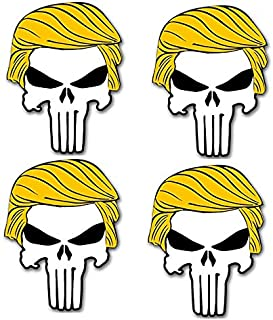 4 pieces SET | Hard Hat Stickers | Punisher with Trump Hair Sticker (Funny pro Donald Military GOP) USA Decals President Election