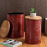 Glitzhome Rustic Storage Bins Accent Side Table Home Furniture Galvanized Metal...