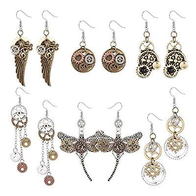 YADOCA 6 Pairs Vintage Steampunk Drop Dangle Earrings Clockwork Gear Mix-tone Hook Earrings Stylish Gothic Dragonfly Wings
