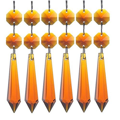 H&D Kristall Glas Eiszapfen Anhänger/Behang/Pendel für Kronleuchter, Lüster und Leuchter, Prisma Tropfen, 55 mm, Bernsteinfarben, 10 Stück
