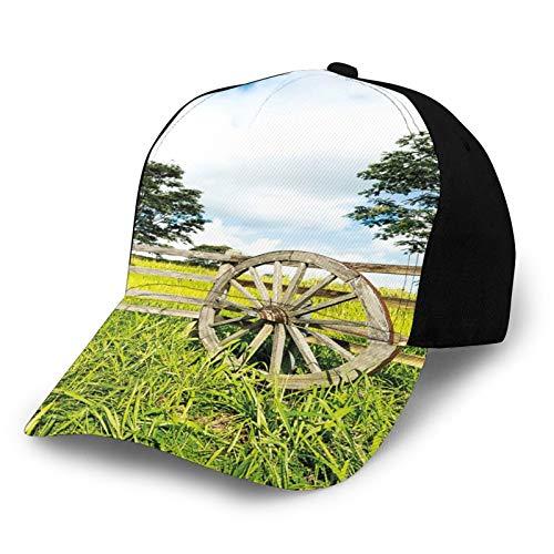 Casquette de baseball unie délavée - Vert frais - Clôtures de prairie luxuriante - Paysage rural - Arbres - Rétro - Réglable - Cadeau pour homme/femme
