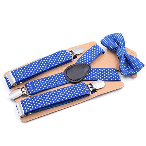 Suspender Clip Traje del Bebé De La Pajarita Muchacho del Cuerpo del Niño Causal Conjunto Lindo del Partido De Los Niños Niños Moda Dot Comfortable (Color : Royal Blue)