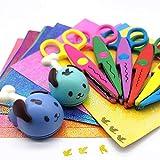 FLYMAN Tijeras para niños para manualidades, tijeras de borde para niños pequeños, con papel brillante, 29 unidades