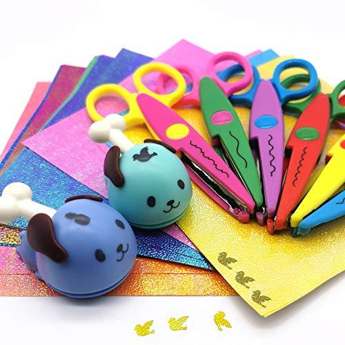 FLYMAN Kinder-Sicherheitsschere für Vorschultraining, Kantenschere mit Glitzerpapier, Papierstanzer, 29 Stück