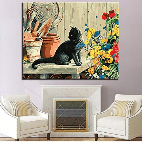 nobrand cxtnt Ölgemälde nach Zahlen DIY Kits Färbung Zeichnung Schwarze Katze auf Leinwand Home Decor Wandkunst abstrakte Tierbilder