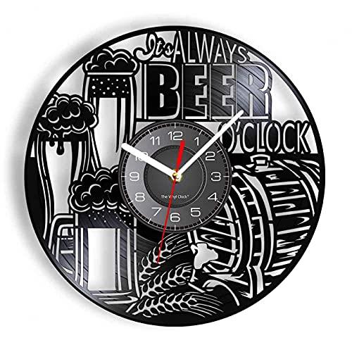 KDBWYC It's Always Beer O'Clock Vinile Lp Record Orologio da Parete Wheat Made Boccale di Birra Schiuma Design Vintage Orologi Illuminati Disco Crafts-Senza LED