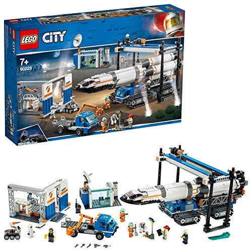 LEGO City Space - Ensamblaje y Transporte del Cohete, Juguete de Nave Espacial de Construcción Inspirado en la NASA con...
