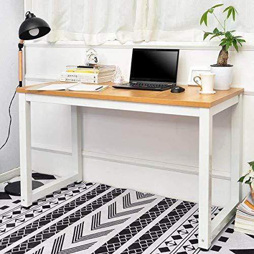 jeerbly Escritorio de madera para computadora o oficina, 120 x 60 x 75 cm, diseño moderno y sencillo para computadora o mesa de trabajo para espacio pequeño, para casa, oficina, mesa de escritura