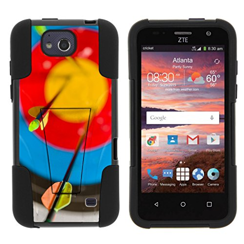 Compatible with ZTE Maven Case   ZTE Fanfare Case   ZTE Atrium Case [Gel Max] Two Layer Soft Silicone Hard Shell Case Kickstand Sports and Games by TurtleArmor - Dart Arrows