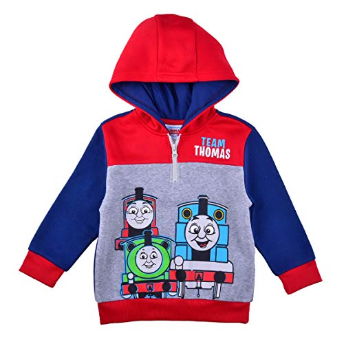 Thomas and Friends Pullover Hoodie for Boys, Fleece Half Zip Hooded Sweater, Size 5 Red