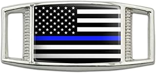 Thin Blue Line American Flag Rectangular Shoe Shoelace Shoe Lace Tag Runner Gym Charm Decoration