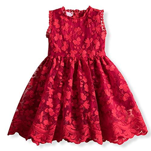 TTYAOVO Vestido de Princesa con Encaje para Niñas Vestido de Fiesta Vintage sin Mangas para Niñas de 2-3 años(Talla 100) 652 Rojo