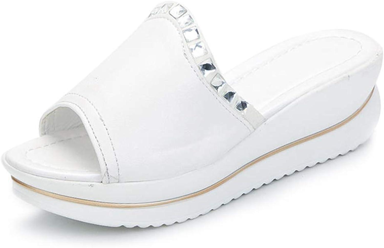 Hoxekle Fashion Women Wedges Slippers Platform Ladies Slides Summer Sandals Crystal Beach shoes