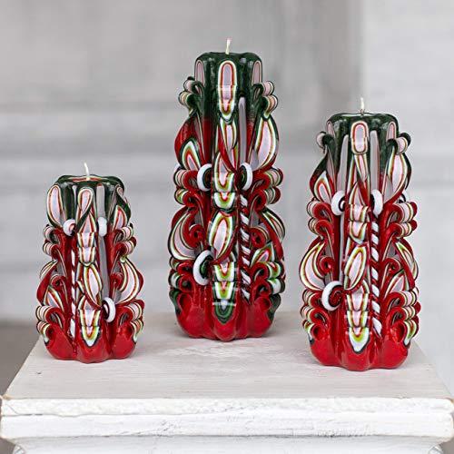 Geschnitzte Weihnachtskerzen - Rote grüne Dekoration - Weihnachtsgeschenkset für Heimtextilien und Geschenk für Sie und Ihn