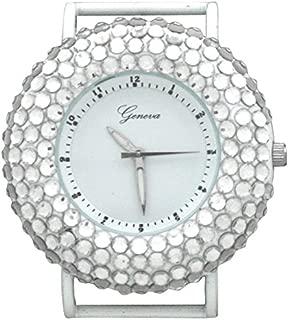 Geneva Large White Circular Watch Case with Rhinestones on Bezel (White)