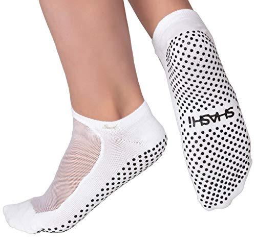 Shashi White Mesh Non Slip Ergonomic Socks Pilates Barre Ballet Yoga Dance White Large / 10.5-12.5