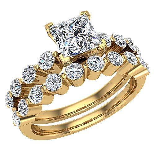 Glitz Design Unisex Niños Hombre Mujer 750 Gold oro amarillo talla princesa Round Brilliant GH Diamond