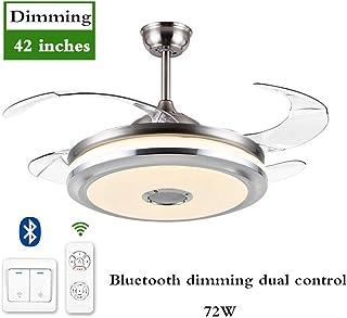 Nbvcxz Ventilador de techo con luces y control remoto, aspas retráctiles Lámparas de techo contemporáneas regulables 48W / 72W, ventilador para sala de estar-Atenuación de doble control_Bluetooth 72W