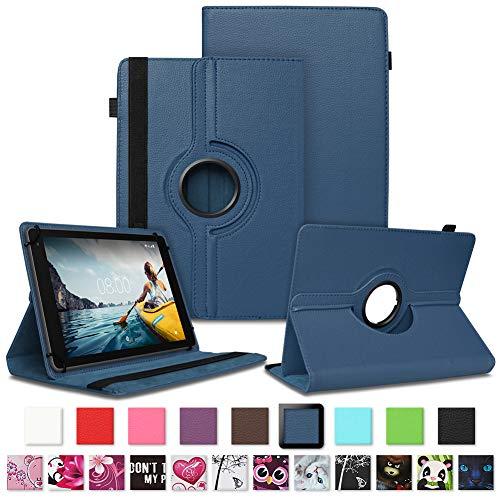 NAUC Tablet Hülle kompatibel für Medion Lifetab E10430 E10604 E10412 E10511 E10513 E10501 Tasche Schutztasche Cover Schutz Hülle 360° Drehbar Etui hochwertiges Kunst-Leder, Farben:Blau
