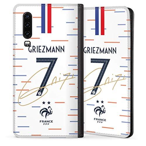 DeinDesign Leder Flip Case kompatibel mit Huawei P30 Tasche Hülle Griezmann Nationalmannschaft Fußballspieler