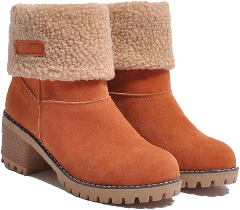 Kyle Walsh Pa Women Snow Boots Platform Square Heels Waterproof Ankle Booties Feminina Thick Warm Fur Winter Botas women