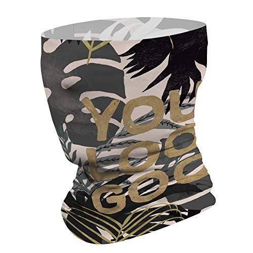 Tropische bladeren met letters je ziet er goed multifunctioneel gezichtsmasker Bandana hals Gaiter hoofdband zon masker gezicht sjaal Balaclava, voor outdoor sporten, voor vrouwen mannen