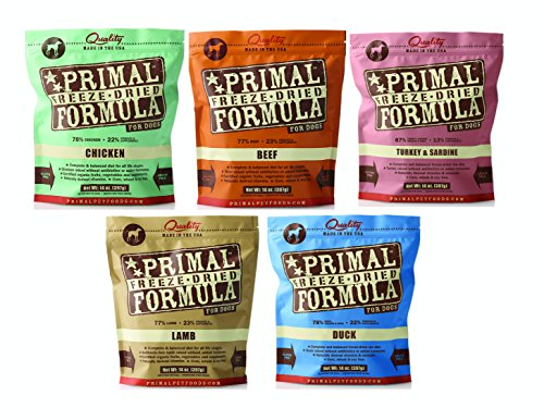 Primal Freeze Dried Dog Food Variety Pack 14oz. (Includes: Chicken, Beef, Duck, Lamb, and Turkey/Sardine)
