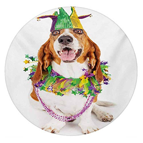 LCGGDB Mardi Gras 3D Decorative Window Film,Happy Smiling Basset Hound Dog Wearing a Jester Hat Neck Garland Bead Necklace Frosted Window Glass Film for Home Office,Round 18'x18',Multicolor