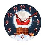 Wjlytf Atascado en la Chimenea Reloj de Pared Decoración navideña para el hogar Atascado Personaje Feliz Movimiento silencioso Reloj Reloj de Pared 30cm