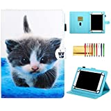 Universal 7 Inch Tablet Case, Techcircle Stand Slim Folding Magnetic Flip PU Leather Protective Cover Wallet Case with Pencil Holder, for LG G-Pad 7.0, Amazon Fire 7, Asus Nexus 7, Cute Cat