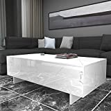 COSVALVE Living Room Rectangle High Gloss Coffee Table, Modern Living Room Table, Living Room Furniture,Waiting Area Table 42.5' x21' x12',White