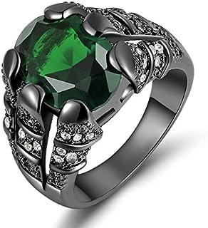 خاتم رجالي مطلي روديوم أسود بحجر كريم زمرد أخضر مقاس US 10